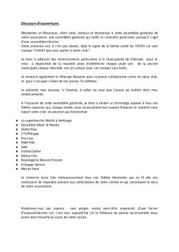 Discours d`ouverture. - Triathlon Grand Villerupt 54