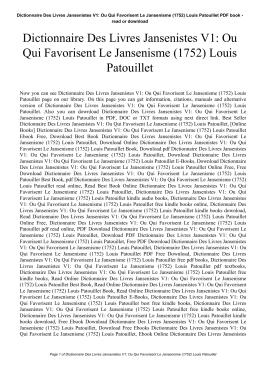Dictionnaire Des Livres Jansenistes V1: Ou Qui Favorisent Le