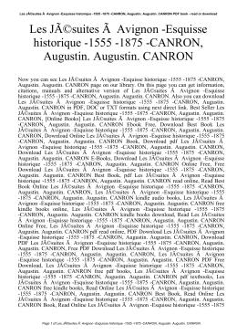 Les Jésuites À Avignon -Esquisse historique -1555