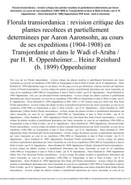 Florula transiordanica : revision critique des plantes recoltees et