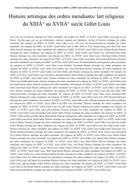 Histoire artistique des ordres mendiants/ lart religieux du XIII° au
