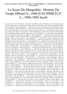 La Soeur Du Maugrabin : Histoire Du Temps DHenri Iv, 1606