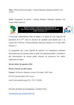 Offre de bourse du Japon - Université Abderrahmane Mira