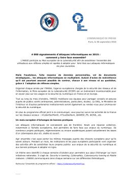 Communiqué de presse -Mois européen cybersécurité