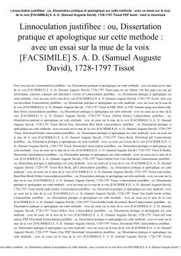Linnoculation justifibee : ou, Dissertation pratique et apologtique sur