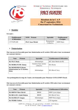 Résultat CAP des Techniciens 27/09/2016