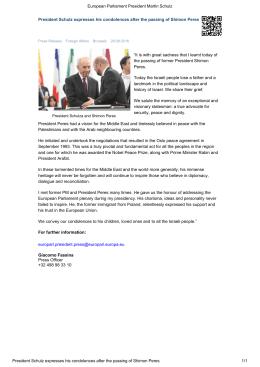 Le Président Martin Schulz exprime ses condoléances