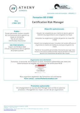 Formation ISO 31000 Gestion des risques Acquérir les