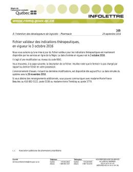 Fichier valideur des indications thérapeutiques, en vigueur le 3