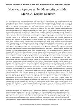 Nouveaux Apercus sur les Manuscrits de la Mer Morte. A