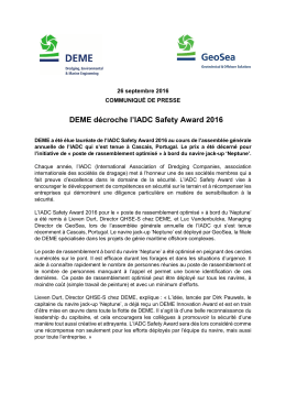 DEME décroche l`IADC Safety Award 2016