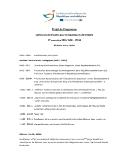 Indicative Agenda - Brussels conference on CAR