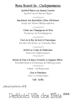 Menu Nouvel An - Oudejaarsmenu