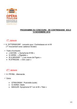 PROGRAMME DU CONCOURS DE CONTREBASSE SOLO 14