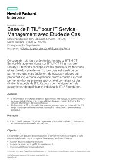 Base de l`ITIL® pour IT Service Management avec Etude de Cas