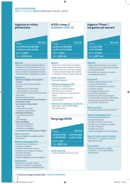 Urgences en milieu pénitentiaire AFGSU niveau 2 Validation CESU