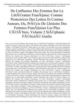 De Linfluence Des Femmes Sur La Littérature Française