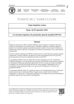 Les Systèmes ingénieux du patrimoine agricole mondial (SIPAM)