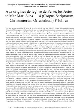 Aux origines de leglise de Perse: les Actes de Mar Mari Subs. 114