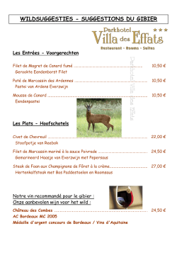 WILDSUGGESTIES - SUGGESTIONS DU GIBIER