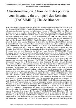 Chrestomathie, ou, Choix de textes pour un cour lmentaire du droit