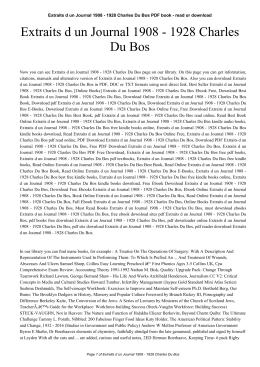 Extraits d un Journal 1908