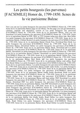 Les petits bourgeois (les parvenus) [FACSIMILE] Honor de, 1799