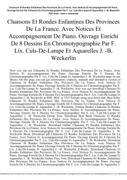 Chansons Et Rondes Enfantines Des Provinces De La France. Avec