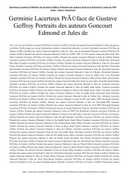 Germinie Lacerteux Préface de Gustave Geffroy Portraits