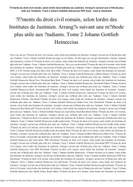 l?ments du droit civil romain, selon lordre des Institutes de Justinien