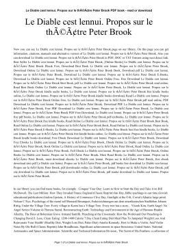 Le Diable cest lennui. Propos sur le théâtre Peter Brook