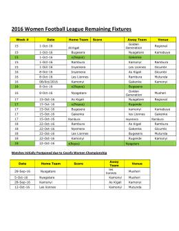 2016 Women Football League Remaining Fixtures