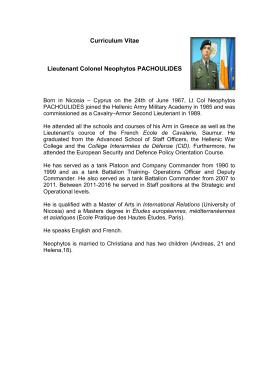 Curriculum Vitae Lieutenant Colonel Neophytos PACHOULIDES