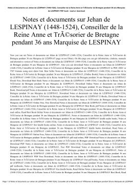 Notes et documents sur Jehan de LESPINAY (1448