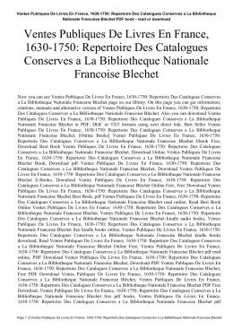 Ventes Publiques De Livres En France, 1630