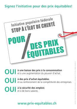 Affiche A4 - L`initiative «Pour des prix équitables