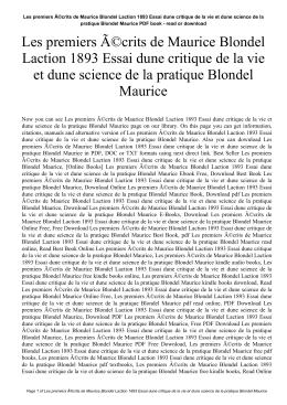Les premiers écrits de Maurice Blondel Laction 1893 Essai dune