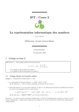 Représentation informatique des nombres - Pascal Delahaye