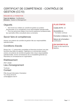 CERTIFICAT DE COMPÉTENCE - CONTRÔLE DE GESTION (CC10)