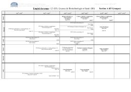 L3 (S5) -Licence de Biotechnologie et Santé (BS)
