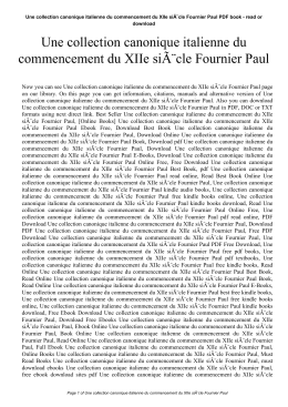 Une collection canonique italienne du commencement du XIIe siÃ