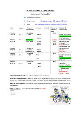 Sorties octobre 2016 - Club Cyclotouriste de Courcouronnes