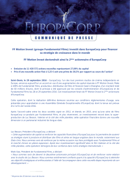 FF Motion Invest (groupe Fundamental Films) investit dans