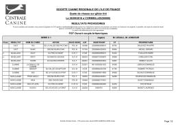 RESULTATS PROVISOIRES SOCIETE CANINE REGIONALE DE L