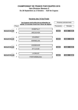 CHAMPIONNAT DE FRANCE PAR EQUIPES 2016 1ère Division