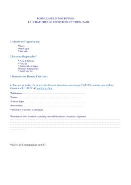 Formulaire d`inscription pour les laboratoires de recherche