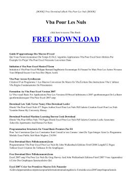 VBA POUR LES NULS - INDEX | ebook PDF