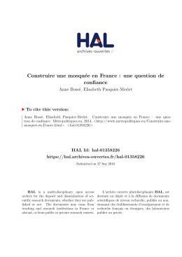 Construire une mosquée en France : une question de - Hal-SHS