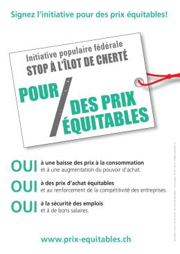 STOP À L`ÎLOT DE CHERTÉ - L`initiative «Pour des prix équitables