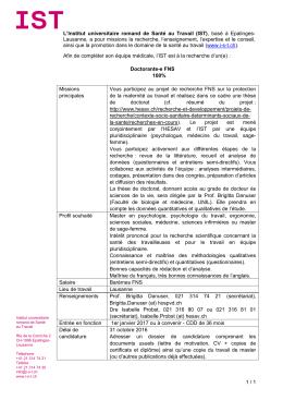 doctorante-e FNS - Institut universitaire romand de Santé au Travail